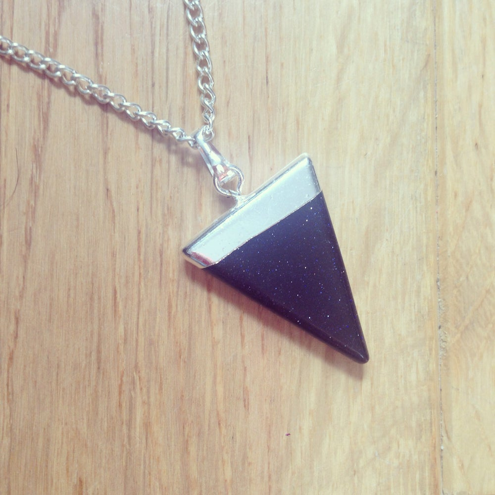 Image of Blue Goldstone Healing Crystal Triangle Pendant Hand-Made Necklace