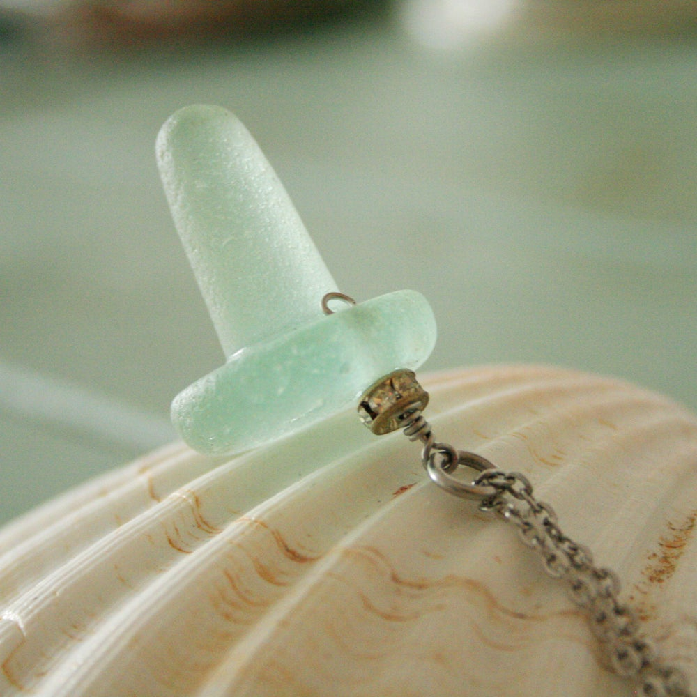 Image of Tribal necklace sea glass bottle stopper necklace
