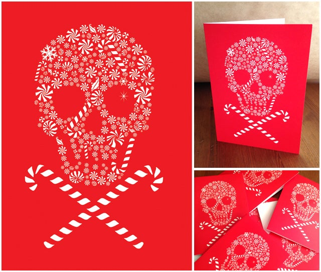 Image of Holiday Candy Skull Card Pack - 8 Cards 8 Envelopes