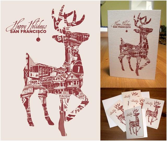 Image of Holiday San Francisco Deer Card Pack - 8 Cards 8 Envelopes