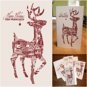 Image of Holiday San Francisco Deer Card Pack - 8 Cards 8 Envelopes