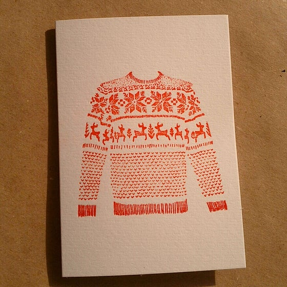 Image of Christmas Cards 5 Pack / Red Fairisle Jumper (Letterpress Printed) - A7 size, blank inside