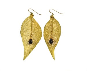 Image of Real Evergreen Earrings Preserved in 24k Gold w/ Amethyst Briolette-ONE LEFT IN STOCK!!