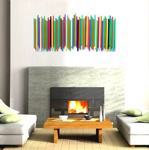 ... Image Of Modern Wood Wall Art | Wood Wall Decor | Custom Painted Stick  Wall Sculpture ...