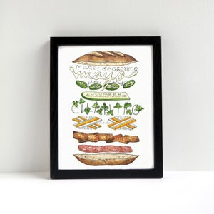 Banh Mi Exploded Sandwich Print by Alyson Thomas of Drywell Art. Available at shop.drywellart.com