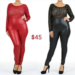 Image of Lace/Leather Catsuit