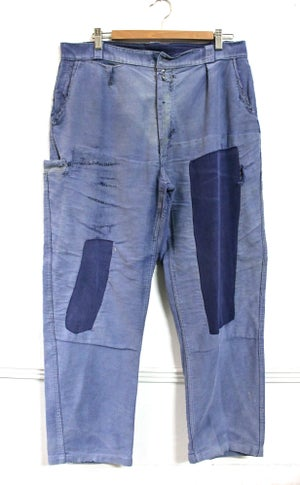 Image of 1920'S FRENCH BLUE MOLESKIN PANTS FADED & PATCHED 1