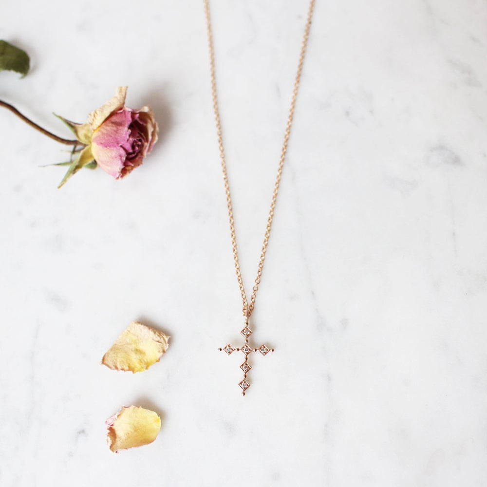 Image of Pink Antique Cross Necklace