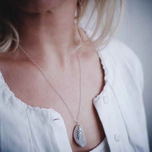 Image of fern leaf & druse quartz necklace, 9ct white gold plate