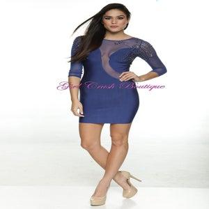 """Image of """"Lexi"""" Embelleshed Blue Sheer Bandage Bodycon Dress"""