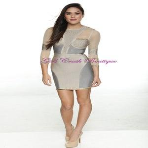 "Image of ""Chalissa"" Beige Gray Bandage Rhinestone Bodycon Pencil Midi Dress"