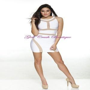 "Image of ""Vanetta"" White Sheer Mesh Bandage Bodycon Pencil Midi Dress"