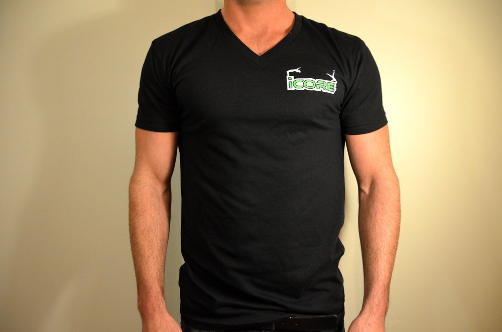 Image of Black Fitted V-neck T-Shirt