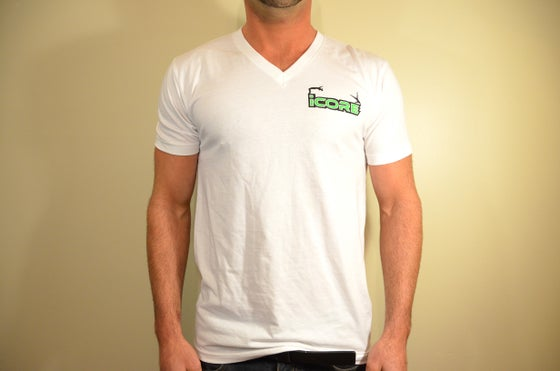 Image of White Fitted V-neck T-Shirt