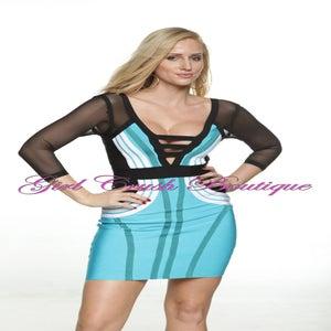 Image of Blue Black White Long Sleeve Bandage Sheer Dress