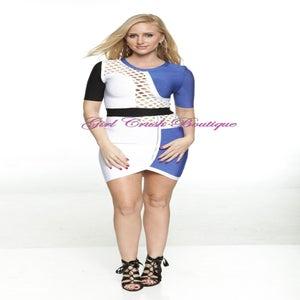 Image of Blue White Black Mid Sleeve Zippered Bandage Dress