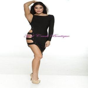 Image of Black Side Strap Bandage Dress