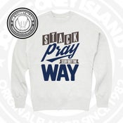 Image of stack pray stay out the way - khaki with chocolate and navy print