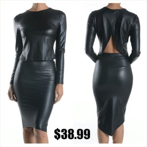 Image of Two piece Faux leather Set