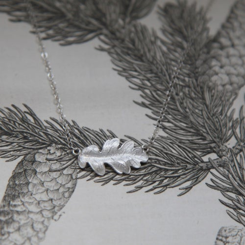 Image of silver oak leaf necklace