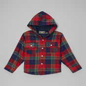 Image of Plaid Hoodie Coat Red