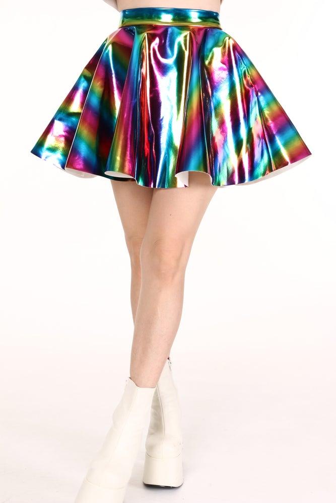 Image of Made To Order - Rainbow Hologram Circle Skirt