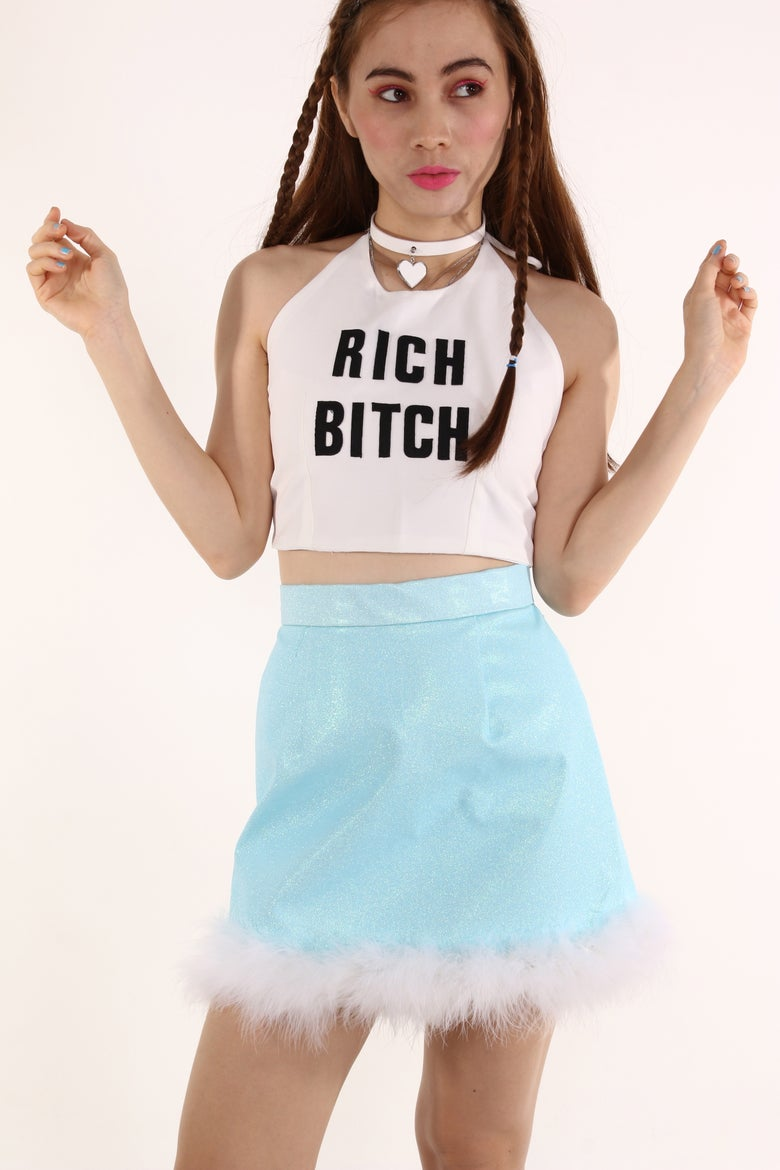 Image of Made To Order - Michelle Blue Glitter Skirt with White Faux Fur