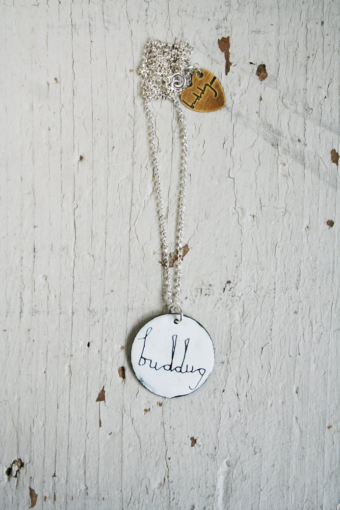 Image of Cadwen Enw Siap Crwn /// Personalised Enamel Circular Necklace