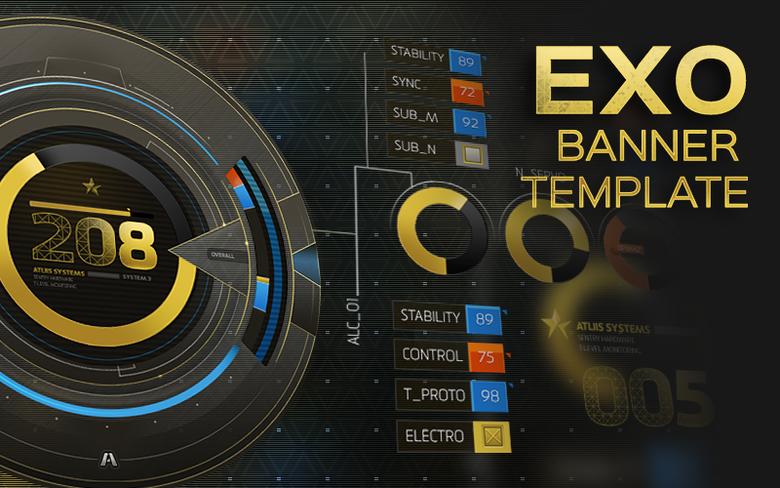 "Image of ""Exo"" YouTube Premium Banner & Overlay Template"