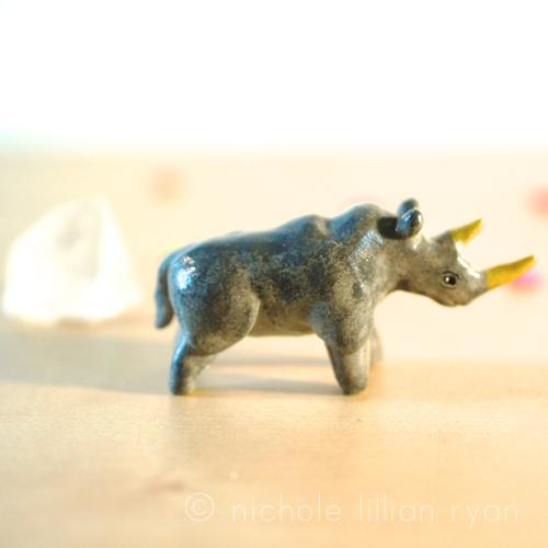 Image of Clay Rhino Totem Figurine
