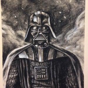 Image of Darth Vader charcoal.