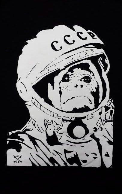 Image of Space Monkey T-shirt. BLACK