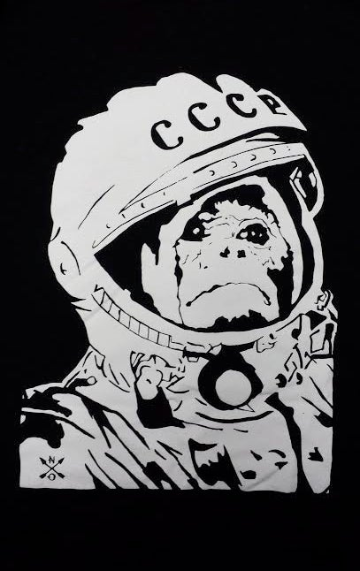 Image of Space Monkey T-shirt. BLACK