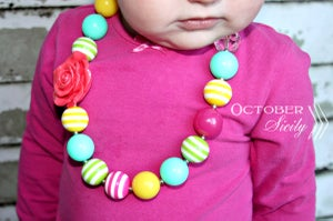 Image of Chunky Little Girls beaded bubblegum necklace, 2 Styles