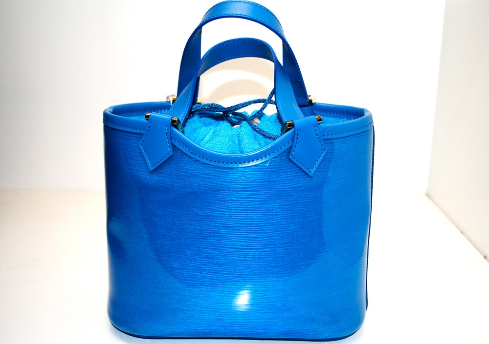 Image of Louis Vuitton Blue Vinyl Epi Plage Leather Mini Lagoon Bay Bag