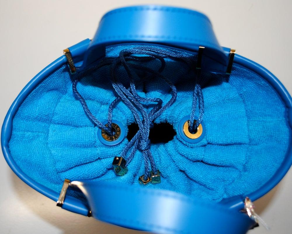 Image of Louis Vuitton Blue Vinyl Epi Plage Leather Mini Lagoon Bay Bag