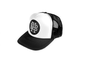 "Image of ""Monogram"" Trucker Hat, Black/White (P1B-T0521)"