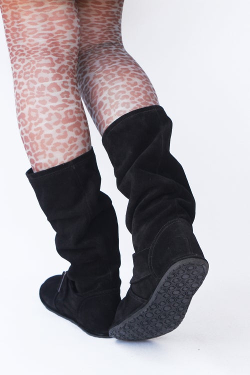 Image of Slouch Boots in Black suede