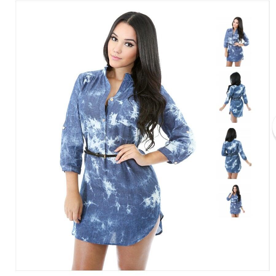 Image of demin shirt dress