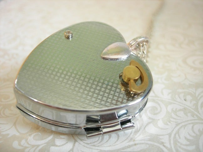 Image of Sweet Molly miniature music box heart locket (floral sky blue)