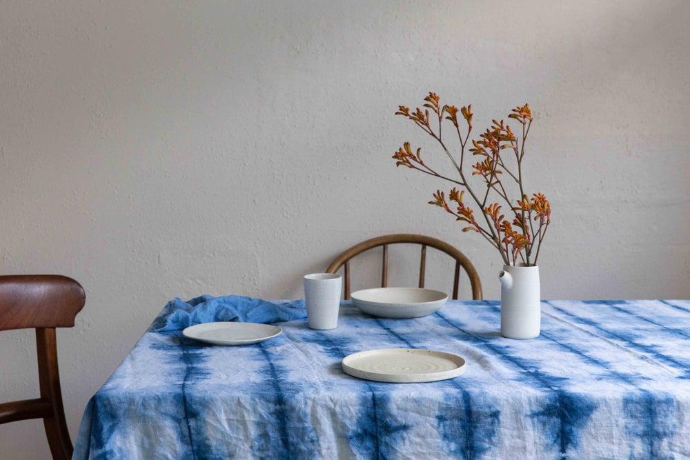 Image of Indigo Shibori Linen Tablecloth