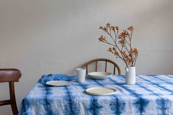 Image of Indigo Shibori Linen Tablecloth