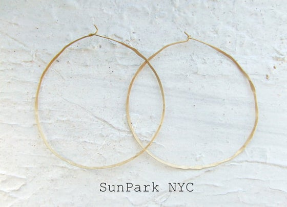 Image of Delicate Hammered Gold Hoop Earring