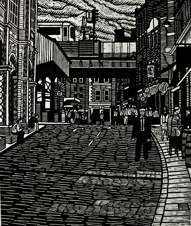 Image of  Borough Market Lunchtime, linocut print, 2014, 56 x 47 cms, edition of 100