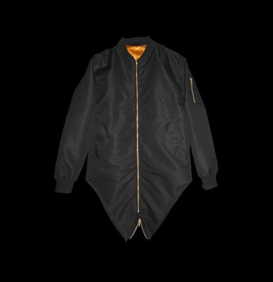 Image of Black Double Tailed Flight Jacket
