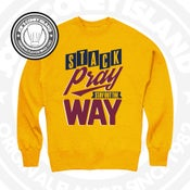 Image of Stack Pray Stay Out The Way Yellow (Navy/Maroon) Crewneck