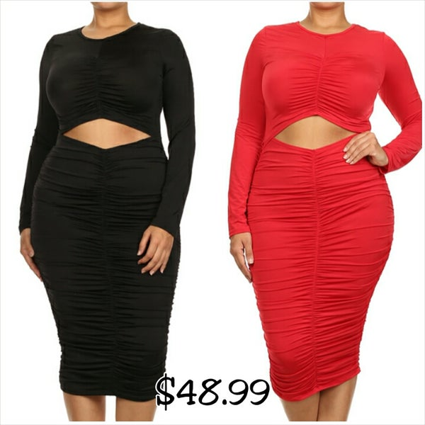 Image of Ruched Cutout Bodycon