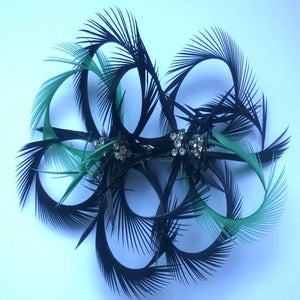 Image of Double feather flower Frou Frou (Fascinator)- Black, emerald and diamante