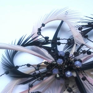 Image of Dusky pink and black feather Frou Frou (fascinator)