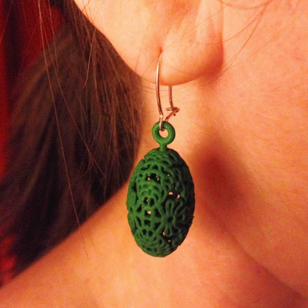 Image of 3D printed earrings OVAL.floral